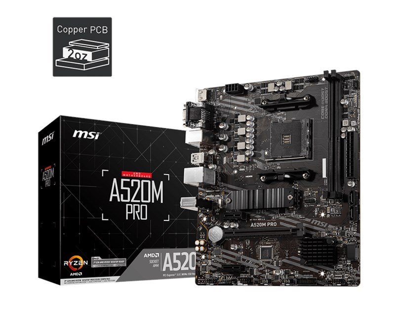 MSI-A520M-Pro-AM4-Ryzen-DDR4-Vga-Hdmi-Dp